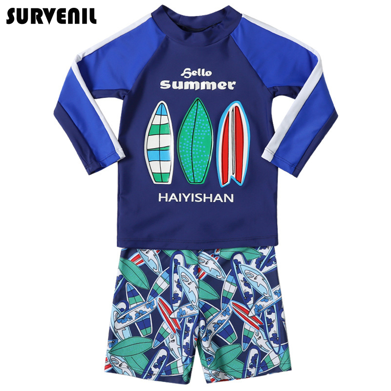 Boy Swimsuit,Toddler Boys 2-PieceTrunk and Rashguard Long-Sleeve Shark Bathing Suit Sets with Hat Surfing Suit UPF 50+
