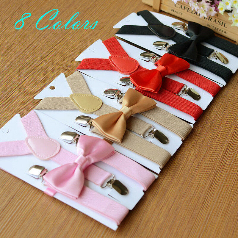 Kids Braces Boys Girls Y-back Adjustable Suspender Clip-on Elastic Suspender Children Belts Straps Multi Colors Bow Tie Set