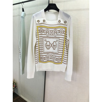 Autumn 100 % cashmere sweater H geometric element pattern long sleeved sweater costume female H