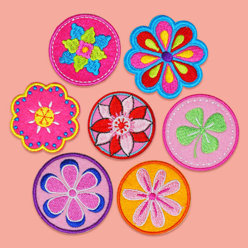 Mandala Lotus Flower Embroidery Patches for Clothes Iron on Yoga Applique for Child DIY Accessories Cloth Back Rubber Badges