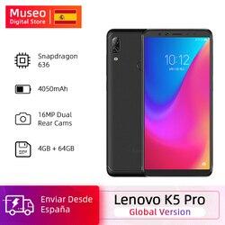 Перейти на Алиэкспресс и купить global version lenovo k5 pro snapdragon 636 octa core 4gb 64gb smartphone quad cameras 5.99 inch screen 4050 mah 4g phones