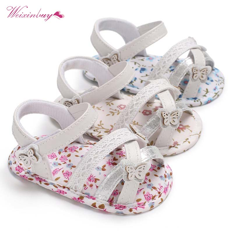 Summer Princess First Walkers Baby Girls Shoes Newborn Infant Soft Floral Sole Prewalkers Cure Butterfly Print Kids Footwear