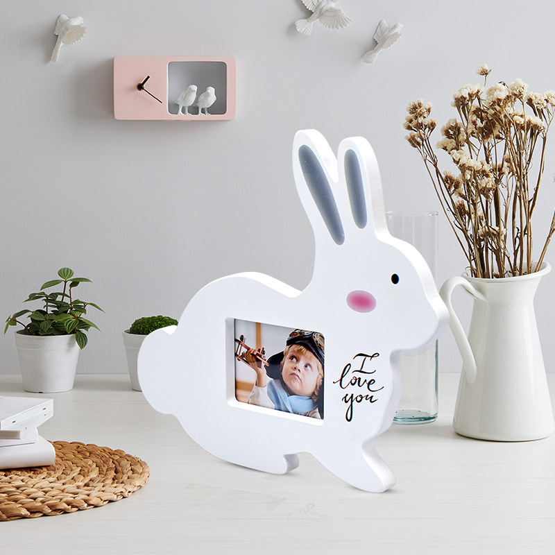 Cute Baby Photo Frame DIY Handprint Or Footprint Kissing Rabbit Photo Frame Baby Growth Memorial Gift Frame Home Decorations