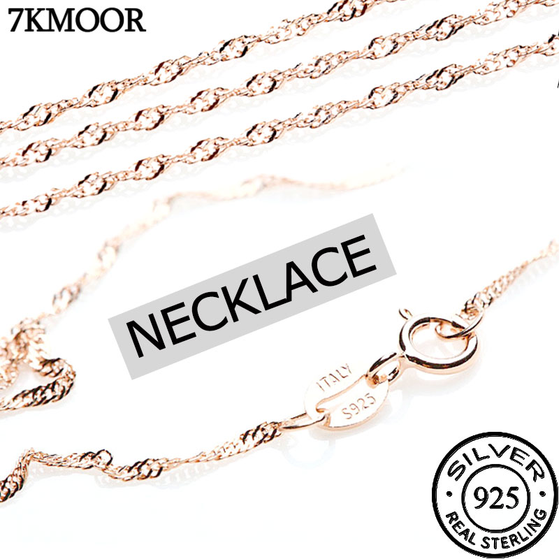 Width 1mm 7 Styles 925 Sterling Silver Necklace Sterling Silver Necklace Chain Diy Clavicle Necklace Jewelry Lz1 Chain Necklaces Aliexpress