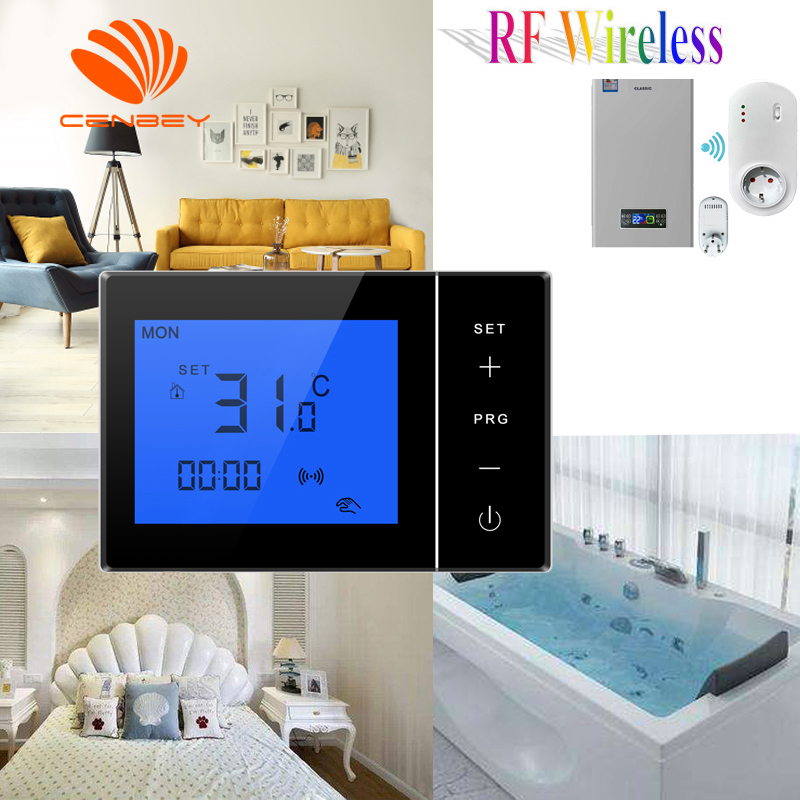 Wireless Thermostat Battery Powered Plug Receiver Room Underfloor Heating Thermostats Smart Central Heating Programmable 16A