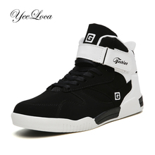 New 2019 High Top Sneakers Men Casual Shoes Breathable White