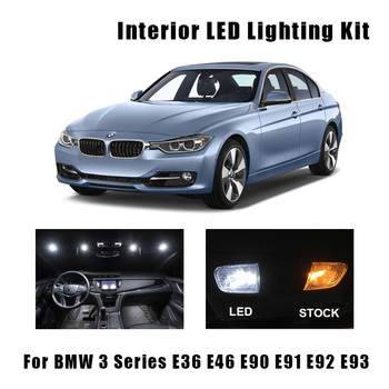 White Canbus Error Free Car LED Interior Light Map Dome Reading Bulbs Kit For BMW 3 Series E36 E46 E90 E91 E92 E93 1990-2019 image
