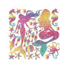 Autocollant mural sirène coloré et brillant, 1 pièce, décoration murale mignonne pour chambre d'enfants de petites filles