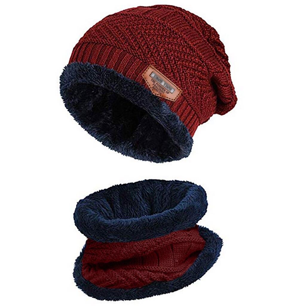 Мужская теплая шапка Skullies+ мягкий шарф, комплект из двух предметов, зимняя утолщенная шапка, Мужская ветрозащитная вязаная шапка, грелка для шеи# T5P - Цвет: Red