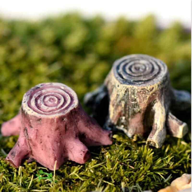 1 PC Kerajinan Patung Miniatur DIY Peri Taman Lumut Terarium Dekorasi Aksesoris Buatan Mini Resin Tunggul Pohon