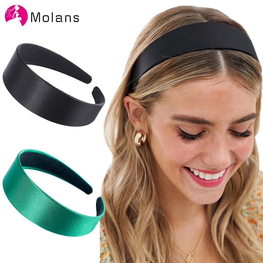 Molans New Solid Satin Headband Smooth Non-slip Wide Hair Hoops Elegant Candy Color Simple Women Hairbands Hair Accessories