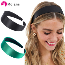 Molans New Solid Satin Headband Smooth Non-slip Wide Hair Hoops Elegant Candy Color Simple Women Hairbands Accessories