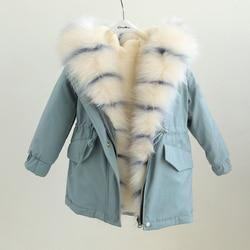 winter Kids Fur Coat for Girls striped hoodies Outerwear Kids Boys Faux Fox Fur Jackets Girls Fur Outerwear Children Clothes