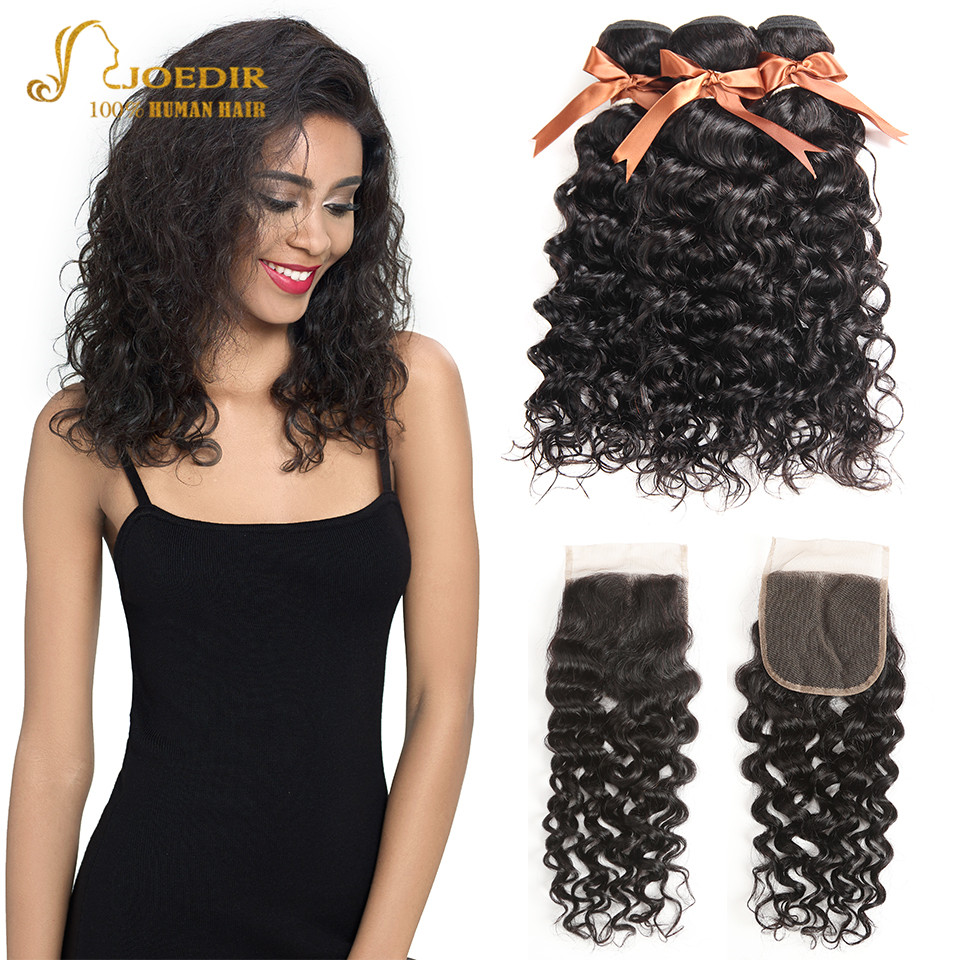 Joedir Water Wave Bundles With Closure Brazilian Human Hair Weave Bundles With Closure 3 Remy Wet And Wavy Bundles With Closure-in 3/4 Bundles with Closure from Hair Extensions & Wigs