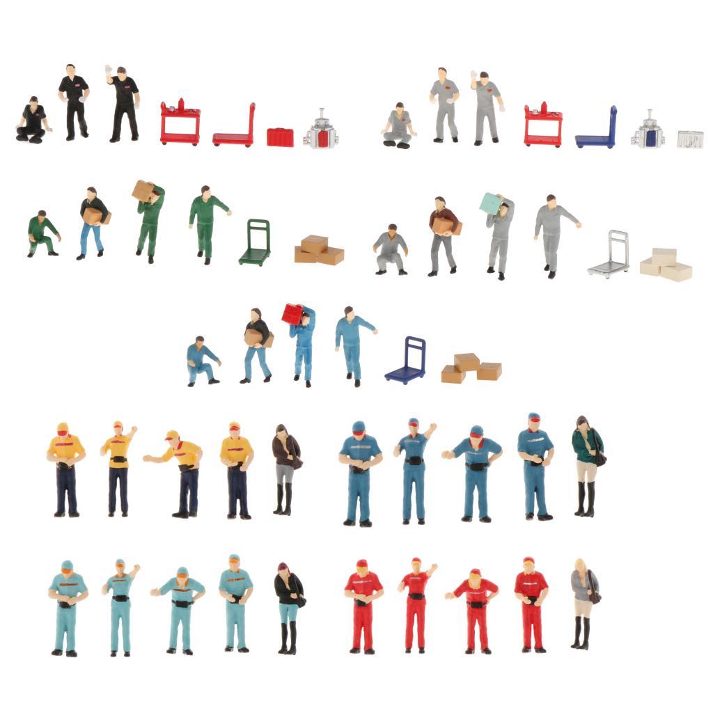 1/64 pequenas pessoas modelo de plástico mão impressa cena personagem reparação homem/carregador expresso edifício trem layout crianças brinquedos