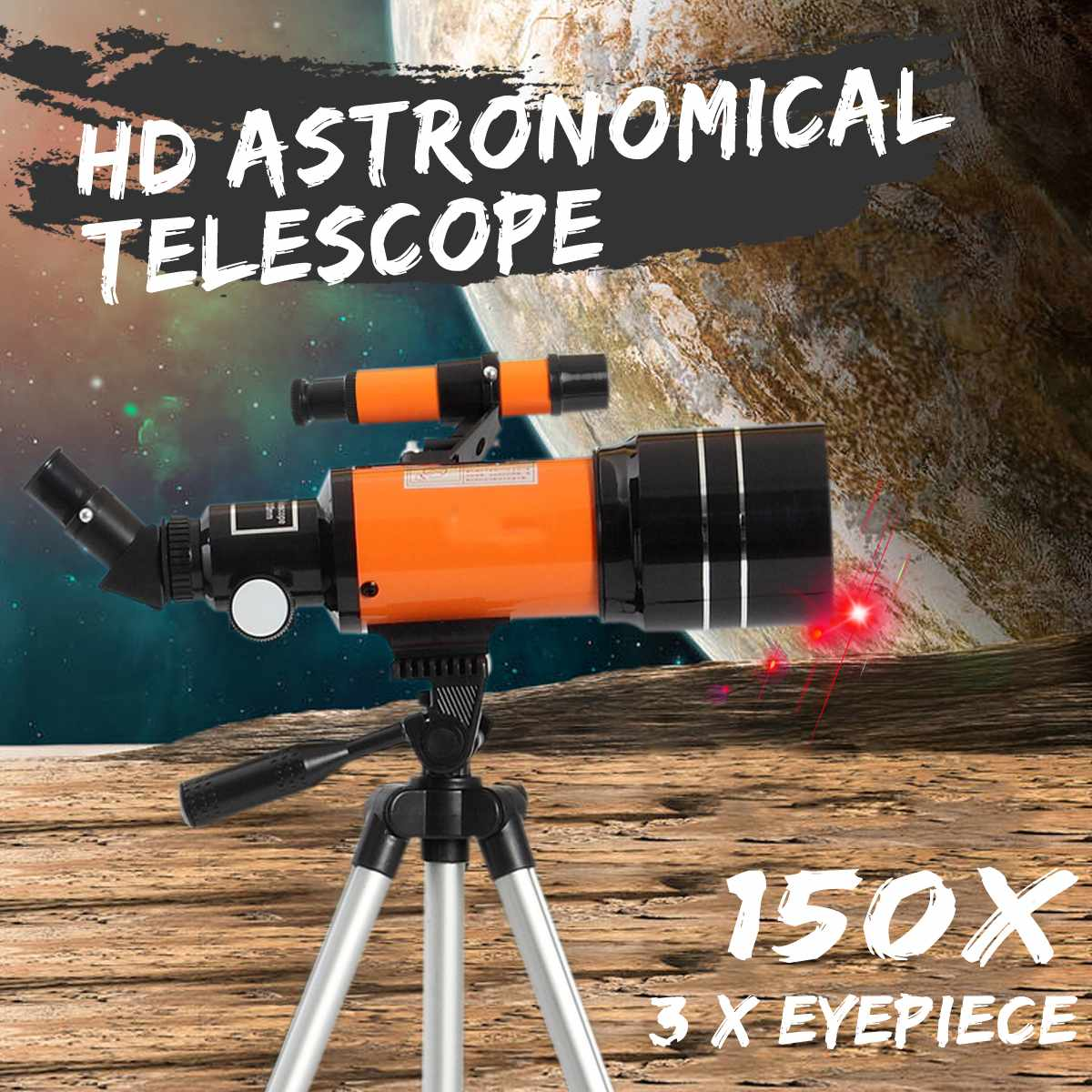 HD Professional Astronomical Telescope Night Vision Deep Space Star View Moon View 150X Monocular Telescope With Tripod Lever