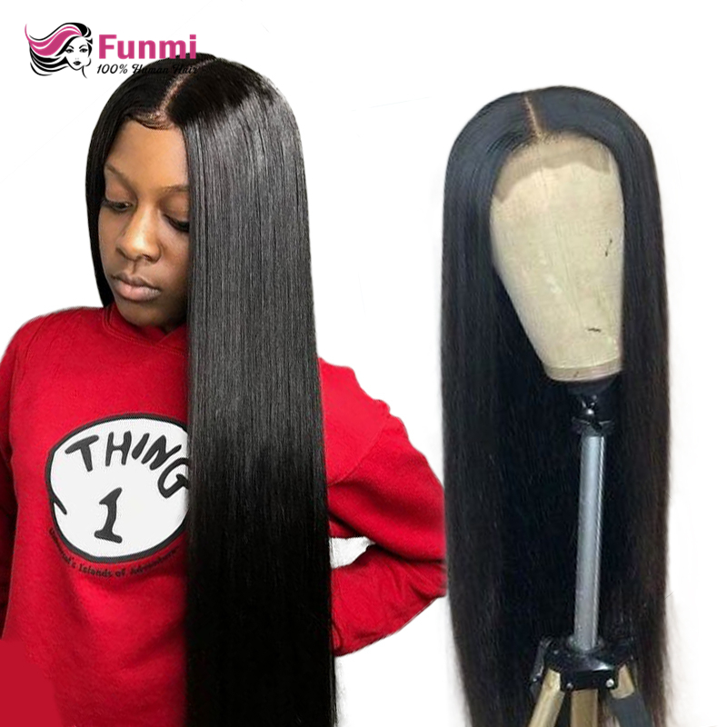 Straight Lace Closure Wig Peruvian Lace Front Human Hair Wigs Remy Closure Wig For Black Women Straight Human Hair Wigs Funmi