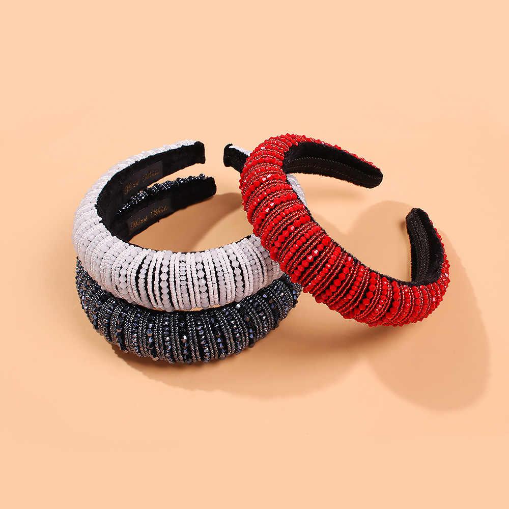 Black Womens Headbands Fashion Sponge Velvet Beading Hairband Hair Hoop Yoga Headband for Women and Girl
