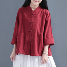 Traditional Chinese Clothing For Women Blouse Stand Collar Chinese Mandarin Jacket Linen Pocket Shirt Ladies Chinese Tops FF2466