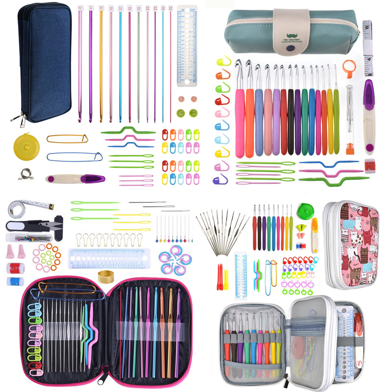 11 Styles Crochet Needles Set with Yarn Knitting Needles Hook Set Sewing Tool Knit Gauge Scissors Hook for Knitting with Case(China)