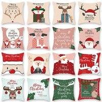 Frohe Weihnachten Kissen Abdeckung Santa Claus Elch Weihnachten Dekoration Für Home 2021 Weihnachten Ornamente Natal Navidad Neue Jahr 2022