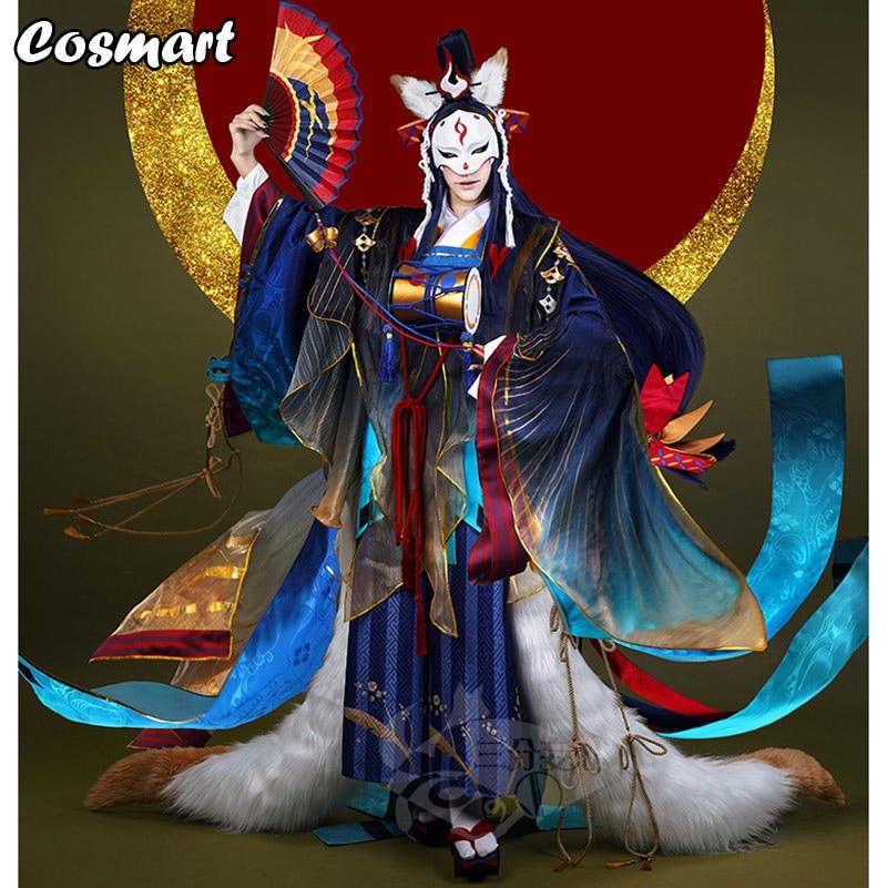 Game Onmyoji SSR Tamamo No Mae Awaken Kimono Uniform Cosplay Costume Full Set Costume With Tail+fan+accessories Halloween Costum