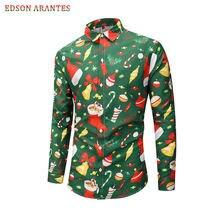 Мужские рубашки с рождественским принтом Санта Клауса, рубашки унисекс с длинным рукавом, Повседневные Вечерние рубашки с тропическими Гавайскими пуговицами