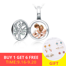 XiaoJing Engraved Unique Family Tree Of Life Photo Locket Necklaces 925 Sterling Silver Custom Jewelry free shipping