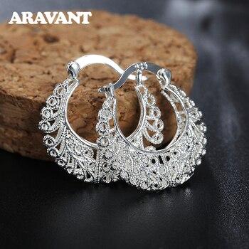 925 Silver Weave Hollow Moon Hoop Earring For Women Fashion Silver Jewelry 1