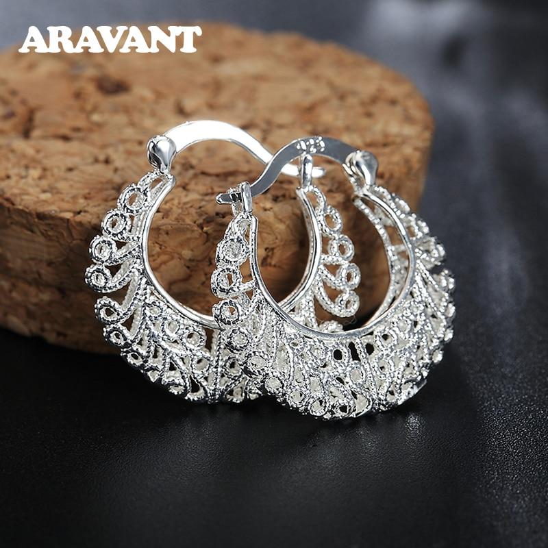 925 gümüş örgü Hollow ay Hoop küpe kadınlar için moda gümüş takı
