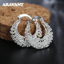 925 серебряные плетеные полые лунные серьги кольца для женщин