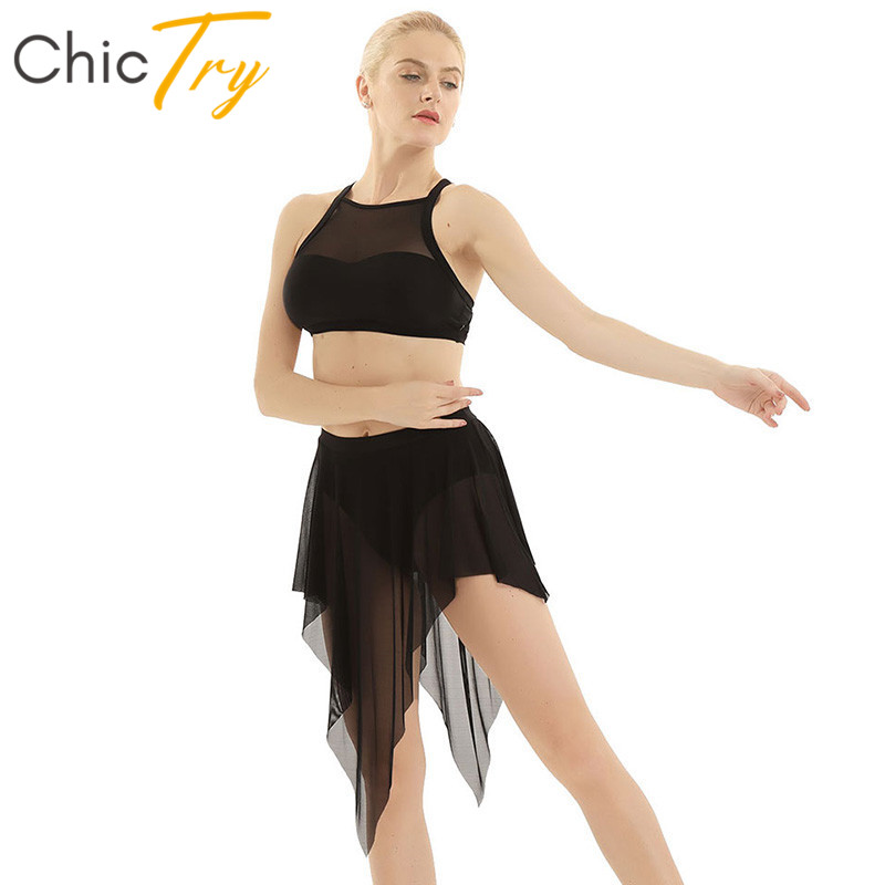 ChicTry Adult Sleeveless Ballet Dress Gymnastics Crop Tops with Mesh Leotard Skirt Dancewear Set Women Lyrical Dance Costumes