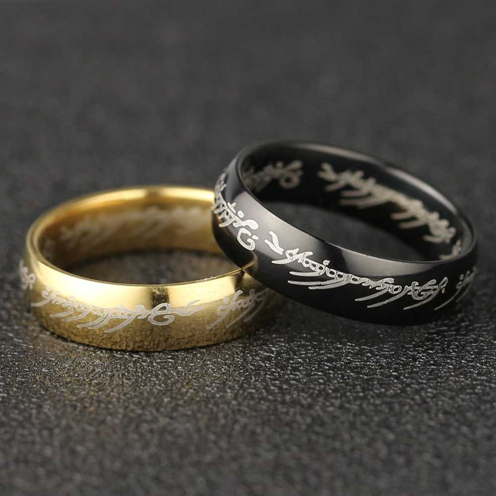 את אחד טבעת סאורון Elf פרודו בגינס גולום JRR טולקין מכתב זהב שחור טיטניום נירוסטה סרט תכשיטי גברים סיטונאי