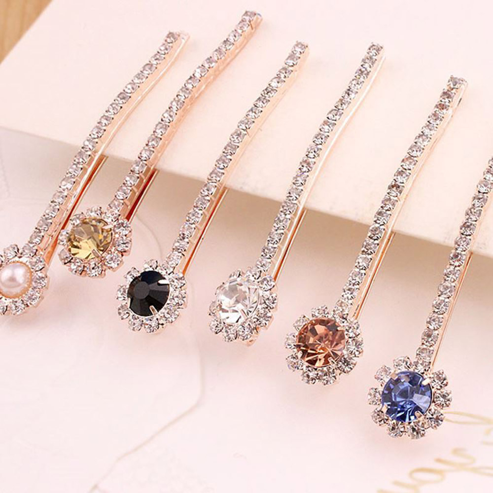 1PC One-line Crystal Rhinestone Hair Clips ForWomen Girls Pearl Hair Pins Barrettes Hair Styling Accessories