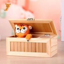 Wooden Useless Box Leave Me Alone Box Most Useless Machine Don't Touch Tiger Toy Gift with Sound Funny Toys prank  toy abwe best sale stealing steal coins mouse gift coins funny box useless box