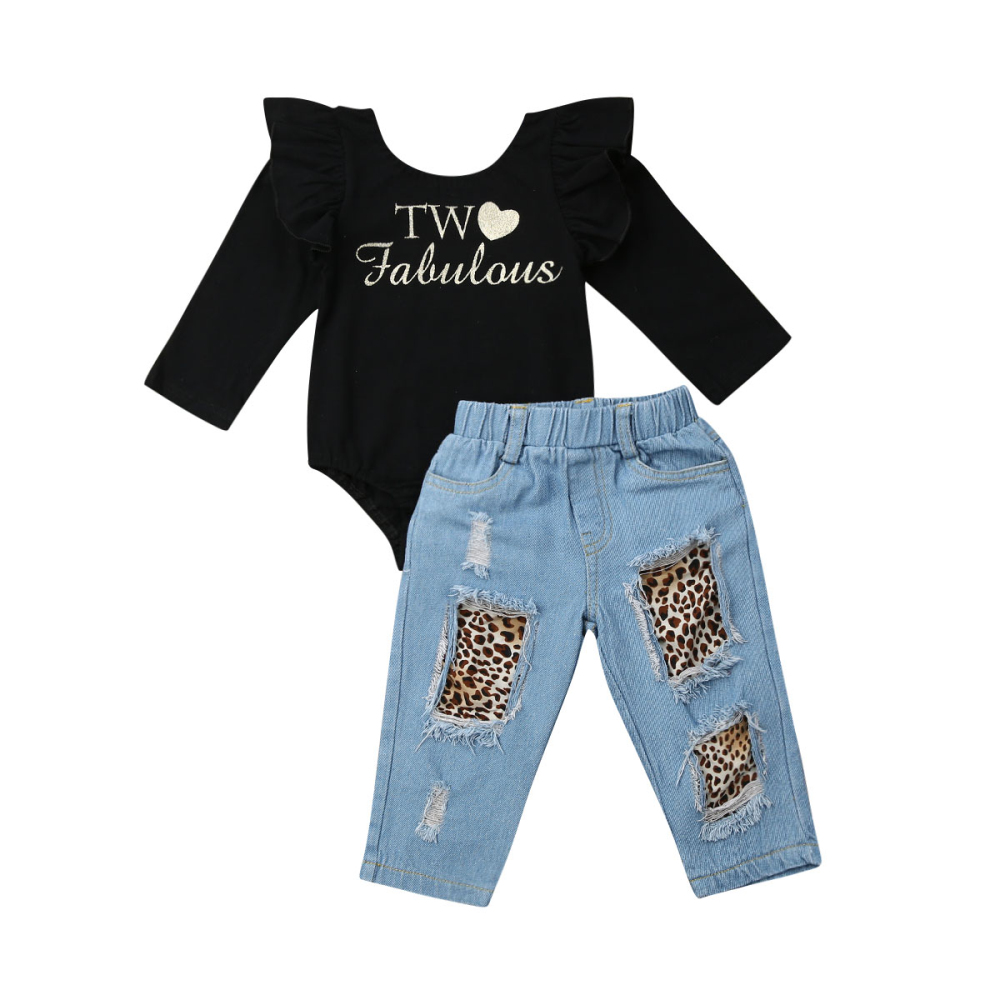Maximum supplier 2PCS Toddler Kids Baby Girl Ruffle Romper+Denim Pants Winter Outfits Clothes(China)