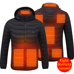 8 Areas Heated Vest Jacket USB Men Winter Electric Heated Sleeveless Jacket Outdoor Hiking Vest with Detachable Hat Dropshipping