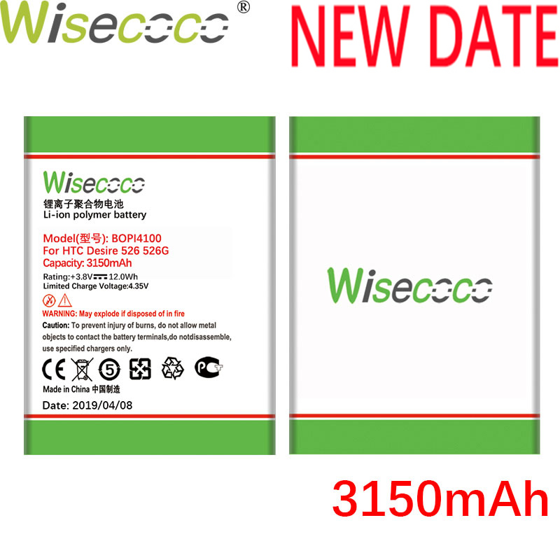 Wisecoco BOPL4100 BOPM3100 3150mAh Newly Produced Battery For HTC Desire 526 526G 526G Phone Repair Replace Tracking Number in Mobile Phone Batteries from Cellphones Telecommunications