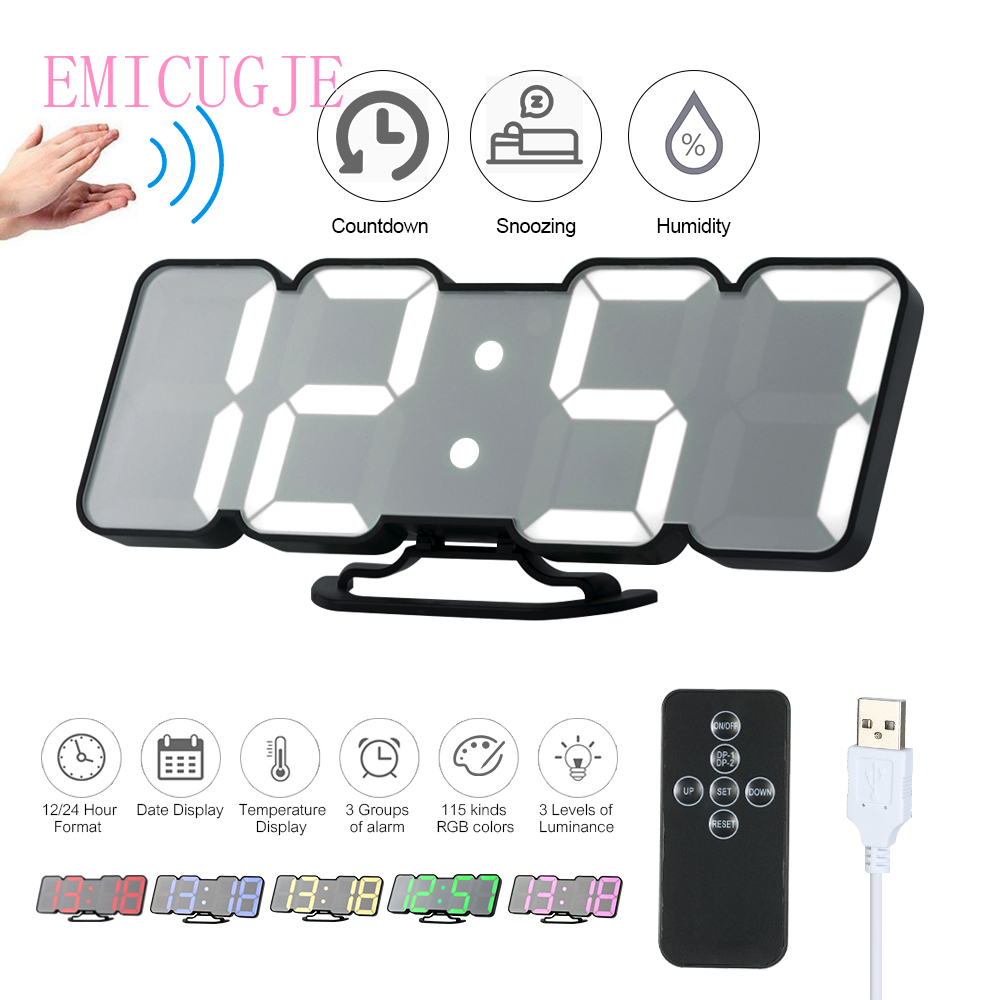Upgrade 3D Remote Control Digital Wall Clock 115 Colors LED Sound Control Night Light Table Clock Time Alarm