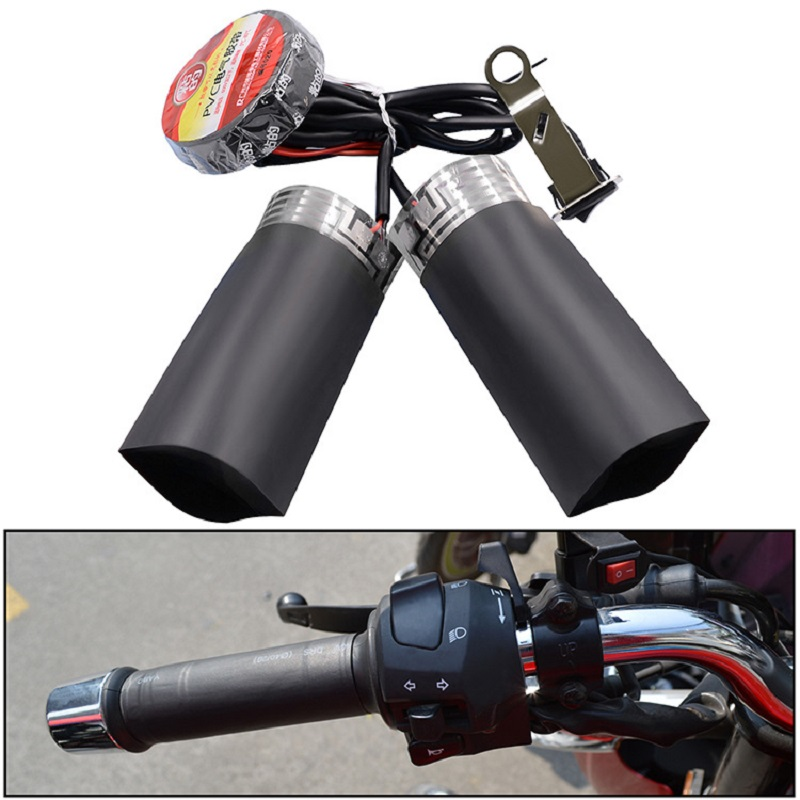 Motorcycle Heated Grip Pads 12V Electric Heated Insert Handle Kit Winter Warmer Handlebar Pad Universal Motorcycle Accessories