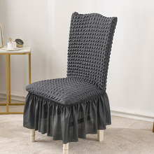 1 pçs cor sólida saia cadeira capa, tecido macio seersucker capas de cadeira para cozinha sala de jantar casamento banquete hotel