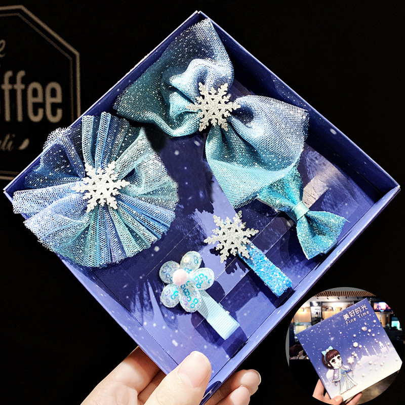Frozen Christmas Snowflake Hair Accessories Set Crystal Hair Clips For Women Winter Hair Ties Girls Hairpins Blue Hair Scrunchie
