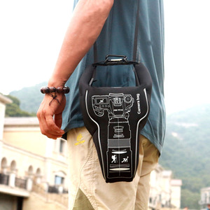 Image 2 - New Arrival Outdoor Waterproof Camera Bag Lens Tube Fashion Triangle Shockproof Photography Protective Case For Canon Nikon Sony