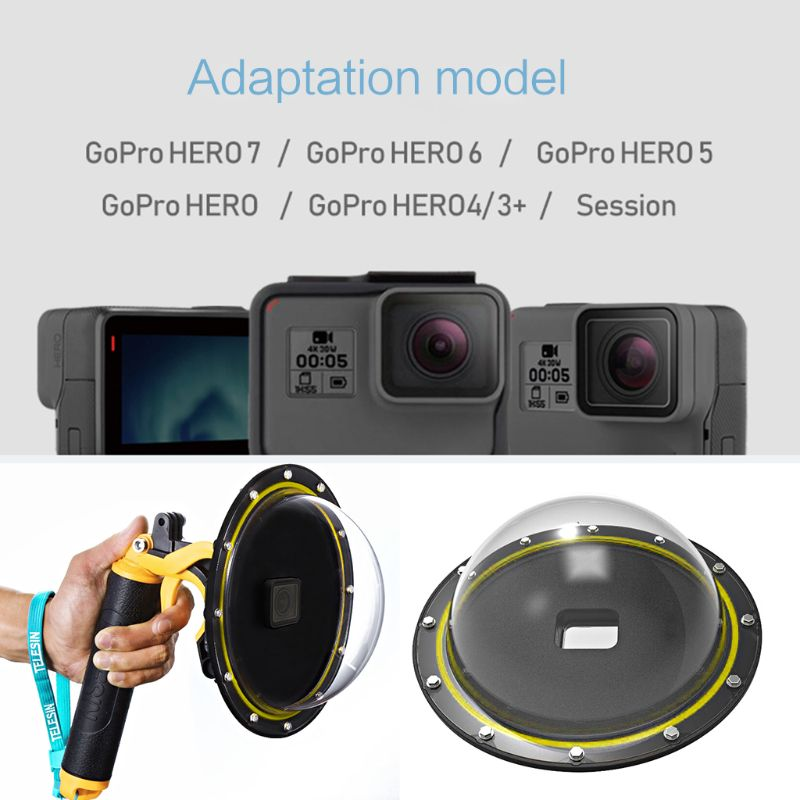 1Set Underwater Diving Dome Port Lens Waterproof Case Protective Cover for Gopro Hero 7/6/5/4/3+ Gopro Hero Action Cameras