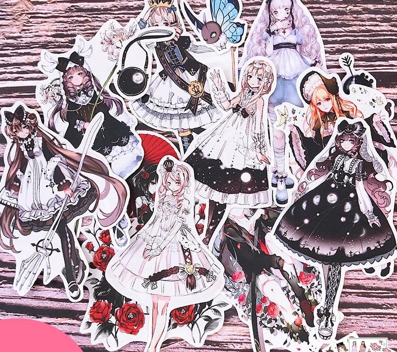 13PCS Gothic Girl Lolita Dream Hand Account Sticker Refrigerator Suitcase Skateboard Mobile Phone Stickers