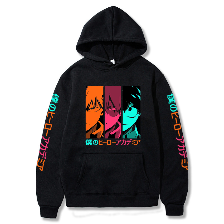 Harakuju My Hero Academia Printed Hooded Sweatshirt Casual Boku No Hero Academia Pullover Long Sleeve Hoodie