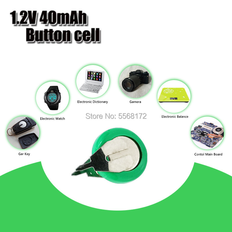 Original Brand New 1.2V 40mAh Ni-MH Rechargeable Button Cell Battery Ni MH Batteries With Pins