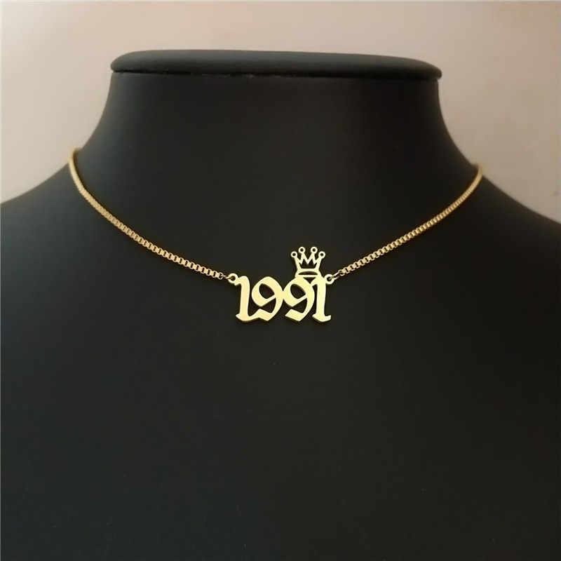 ゴールドボックスチェーン 1991 誕生年ステートメントネックレスクラウンチョーカー古英語番号ネックレス Woemn 男性ジュエリーの誕生日プレゼント