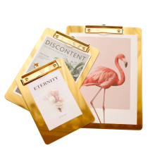 Gold Writing Sheet Pad A4 A5 Clipboard Menu Data File Storage Clips Folder Board for Office Restaurant Hotel Home 1pc