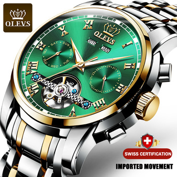 OLEVS Automatic Mechanical Men Watches Stainless Steel Waterproof Date Week Green Fashio Classic Wrist Watches Reloj Hombre 1